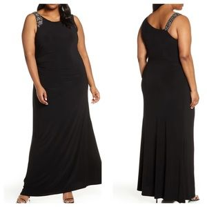 Vince Camuto Plus Size Embellished Gown Black 20W